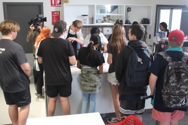 Carinity Education Gladstone students participating in video shoot