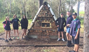 Carinity Education Glendyne students and teacher Justin Burnham with the bee hotel.