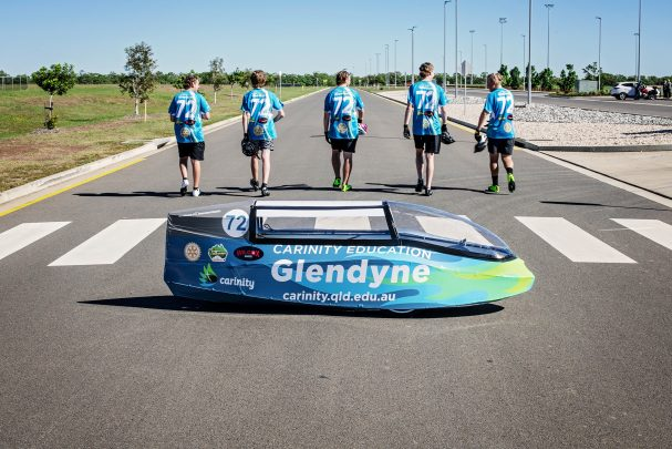 Glendyne Students in Human Powered Vehicle