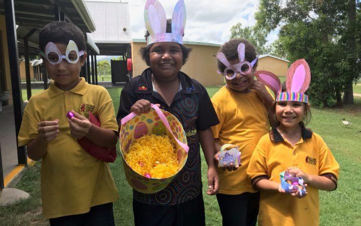 Shalom Students celebrating their egg hunt