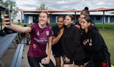 Deadly Choices ambassador and Queensland rugby league representative Tamika Upton at Shalom Christian College.